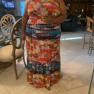 Lane Bryant Abstract Printed Smocked Maxi Dress